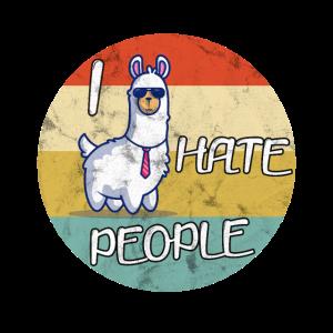 Ich hasse Menschen Retro Lama