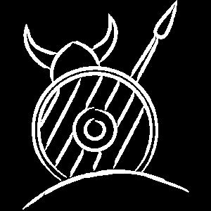 Viking Wikinger mit Schild und Speer