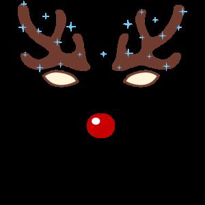 Rentier Gesicht Rote Nase Weihnachten Geschenk