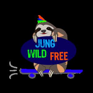 Faultier als Skater Jung Wild Free Lustige Tiere