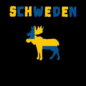 Schweden mit Elch - Schwedische Flagge