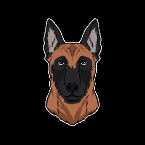 Lustiger Malinois Hundekopf Hund Geschenk