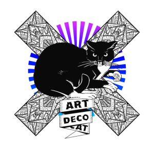 Katze mit Art Deco Art Nouveau Hintergrund