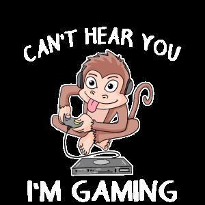Gamer Affe Kopfhörer Zocker Gaming shirt