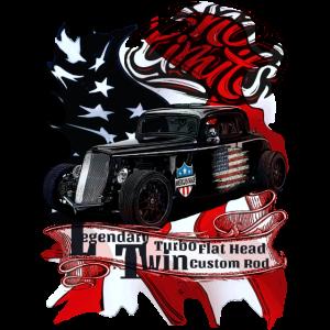 Legendärer V8 Twin Turbo Flat Head No Limits Flag