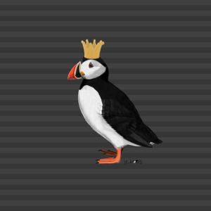 Papageitaucher Krone Vogel Mund-Nasen-Maske Grau