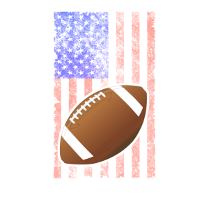 Football T Shirt - Silhouette On USA Flag Design