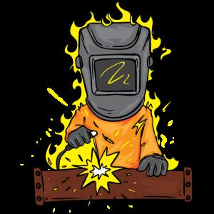Cartoon Schweißer der in Flammen Steht