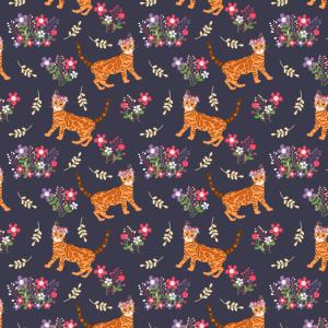 Niedliche Bengalkatze und Blumen