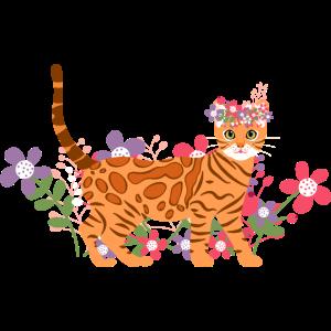 Bengal Katze und Blumen