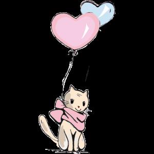 Katze mit Luftballons