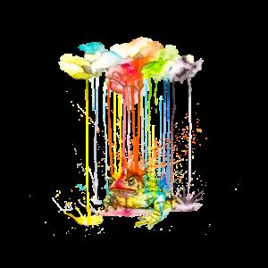 Frosch / Kröte - Raining Colors   Watercolor Art