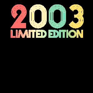 18. Geburtstag Jahr 2003 Geschenk T-Shirt 18 Jahre