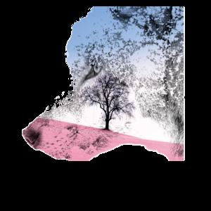 Wolfsprofil mit pastellrosa und blauen Farben