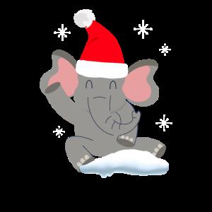 Süßer Elefant im Schnee, Frohe Weihnachten