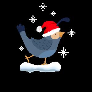 Süßer Vogel im Schnee, Frohe Weihnachten