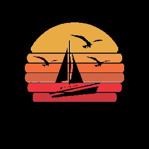 Retro Segeln Segelboot Kapitän Segler