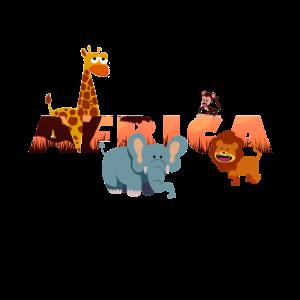 Afrikanische Tiere für Kinder Giraffe Elefant Löwe