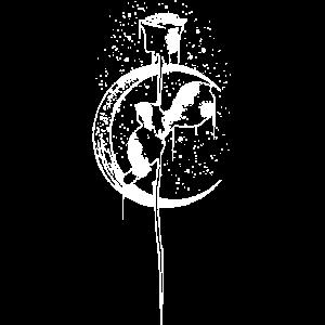 Rose Vintage Mond Sichel Witchcraft Okkult Gothik