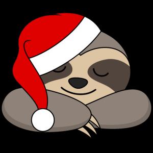 Faultier Weihnachtsmütze Santa Weihnachtsmann XMas