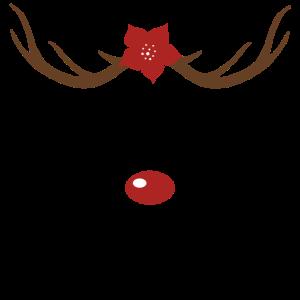 Rentier Gesicht süß Weihnachten Geschenk rote Nase