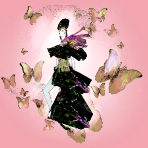 frau,illustration,modeillustration,Schmetterling