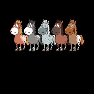 Lustige Comic Pferde und Pferderassen
