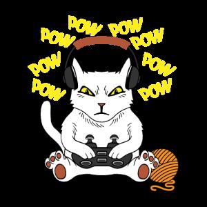 Gaming Cat Katze mit Controller Gamer