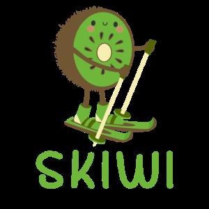 Skiwi Skifahrer Skifahren Kiwi Frucht Wintersport