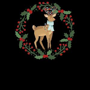 Reh freut sich auf Weihnachten