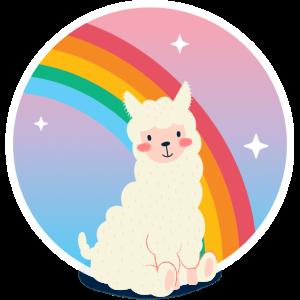 Hübsches Alpaka vor Regenbogen für Kinder