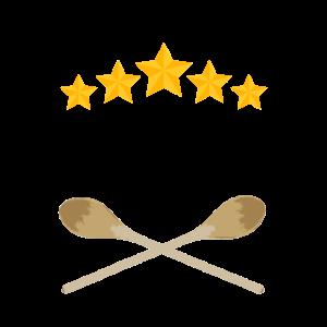 Sternekoch Wort und Kochlöffel Sterne Grafiken