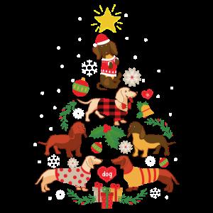 Lustiger Dackel-Weihnachtsbaum-Verzierungs-Dekor