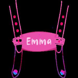 emma, schrift ,hosenträger,rosa,pink
