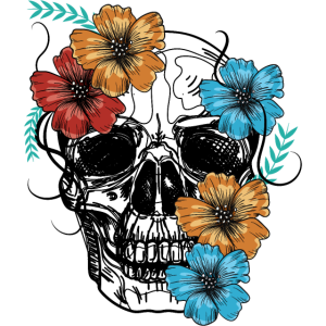 Schädel mit Blume, Totenkopf bunt