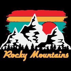 Rocky Mountains Sunset Retro