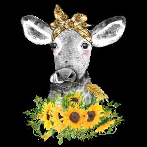Lustige Kuh mit Sonnenblumen und Haarband Geschenk