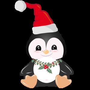 weihnachtlicher Pinguin mit Stechpalme & Mütze