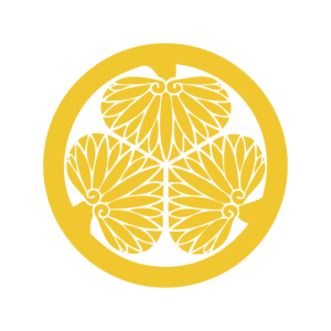 Japanisches Tokugawa Clan Wappen Gelb