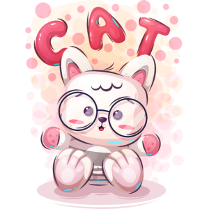 Nettes lustiges Cartoon-Katzen-Charakter-rosa Tier