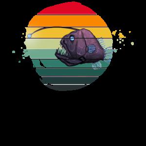 Fisch Meerestier Tiefsee Anglerfisch Laterne Retro