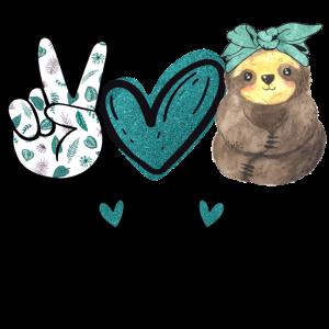 Peace Love Sloths Lustiges Faultier Geschenk