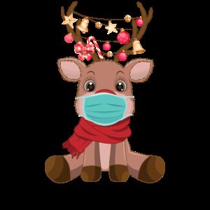 Merry Xmask | Rentier mit Mundschutz Maskenpflicht