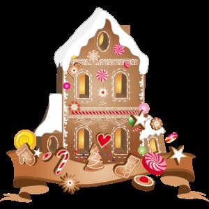 leckeres Lebkuchen Haus mit Weihnachtsplätzchen