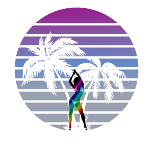 Synth Wave Babe 80er Jahre Miami Style Palmen