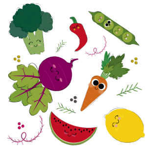 Fröhliches Gemüse