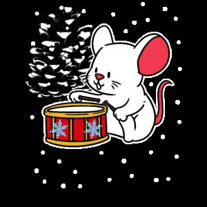 Christmas Maus Trommel Musikant Weihnachten Xmas