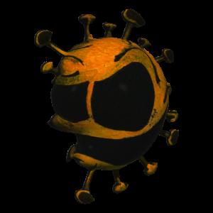 Totenkopf - virus - zelle - lustig - orange