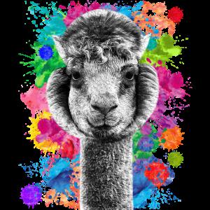 Alpaka mit Farbklecksen / Lama / witziges Geschenk