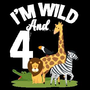 4. Geburtstag Geburtstagsshirt Dschungel Vier